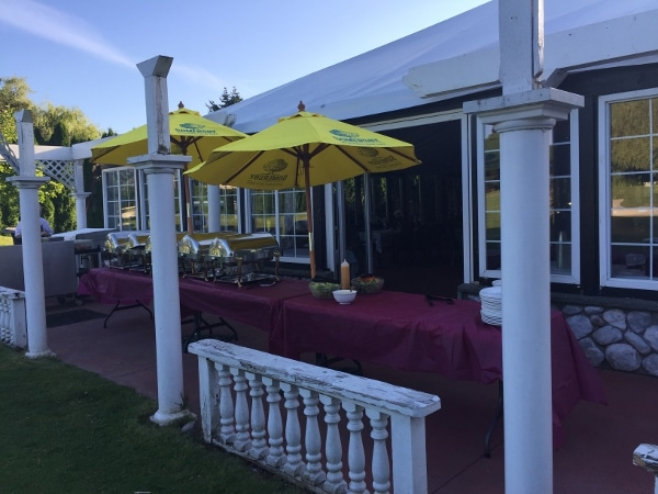 buffet and tent at country meadows golf and country club