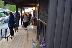 Porch with wedding guests